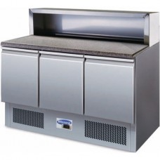Blizzard BCC3PREPGRANITE: 3 Door Refrigerated Compact Pizza Prep Counter