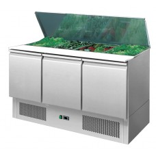 Ice-A-Cool ICE3850: Three Door Refrigerated Saladette Preparation Counter