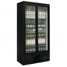 Polar GJ448: Upright Double Sliding Door Back Bar Cooler - 490Ltr