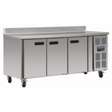 Polar DL917: Polar 3 door freezer food preparation counter with side mounted condenser and upstand. With extended 2 year full onsite warranty
