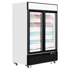 Interlevin LGC5000: LOW-ENERGY Double Glass Door Display Chiller with LED Lighting - 1108Ltr