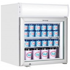 Tefcold UF50GCP: 50Ltr Countertop Glass Door Display Freezer with Canopy